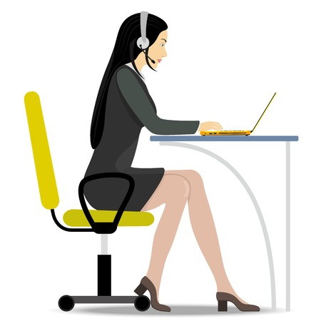 Woman with headset on her head sitting on a chair at the table and working on the notebook. Illustration is not a white background Vector