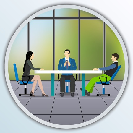 negotiating: Business people sitting at the negotiating table in the office. Illustration round frame.