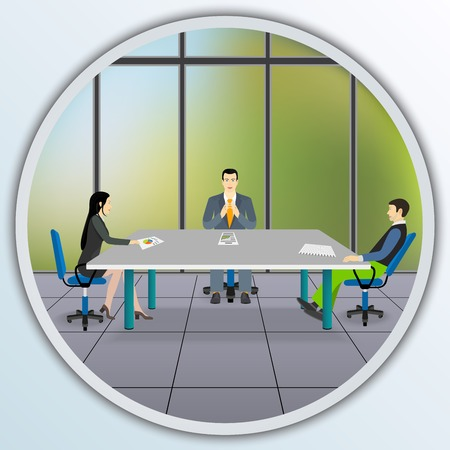 Business people sitting at the negotiating table in the office. Illustration round frame. Vector