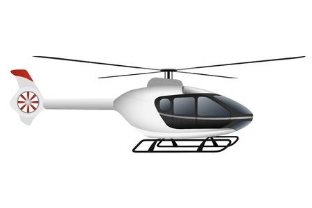 白い近代的なヘリコプター。白い背景の上の図