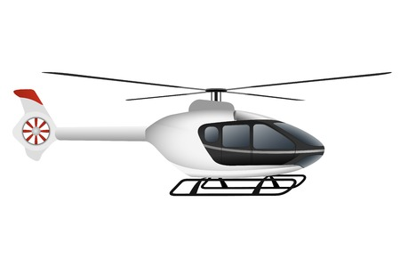 White modern helicopter. Illustration on white background Çizim