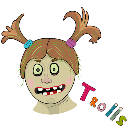 ghoulish: Scary girl troll. Illustration on white background Illustration
