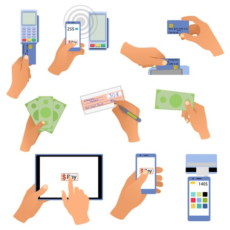 All for business payments human hands holding credit cards, POS terminal, redit cards and check, online payments, hand with money, wireless payment. Ilustrace