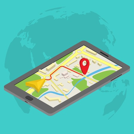 Flat 3d isometric mobile GPS navigation maps infographic concept vector. Tablet with digital satellite map Vector