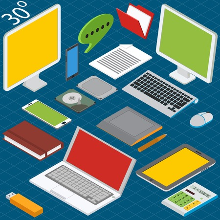 Isometric workplace with a laptop, desktop, smartphones, tablets, calculators, notebooks, hard drives and graphics tablet Çizim