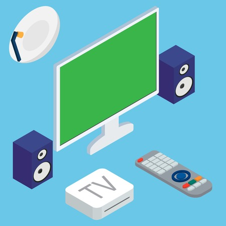 home theater: Vector illustration of home theater system with TV and speakers on blue background
