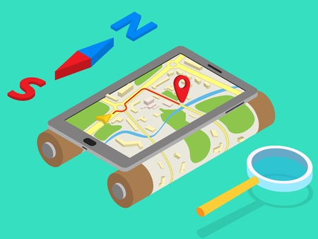 Flat 3d isometric mobile GPS navigation maps infographic concept vector. Tablet with digital satellite map, magnifier and north-south Vector