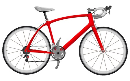 Road racing bike isolated on white background Illustration