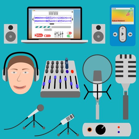 podcasting: Equipment for podcasting and laptop player, microphone and mixer