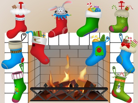 Christmas socks by the fireplace. Vector illustration Vector