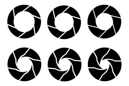 Vector black camera shutter icons set on white background 向量圖像
