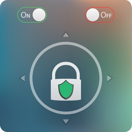 logon: slide to unlock button and on off buttons isolated on soft blurred background- mobile application user interface design Illustration