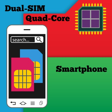 dual: Dual SIM smartphone with quad-core processor - vector illustration