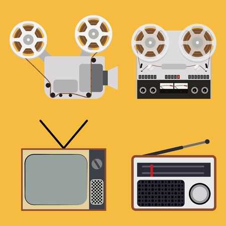 film projector: Flat design retro objects with a film projector, tape recorder, TV and radio - illustration on a yellow background