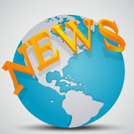 world news: Earth Globe with word News isolated on gray background. World News Concept Illustration