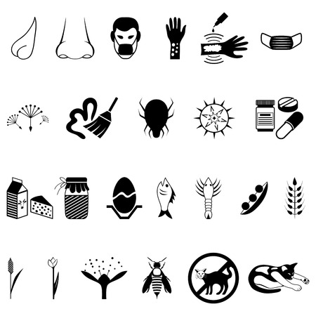 Vector black allergies icons set - illustration isolated on white background Vector