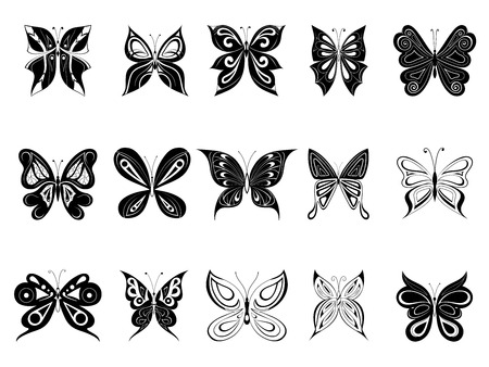 butterflies, black silhouettes on white background, vector