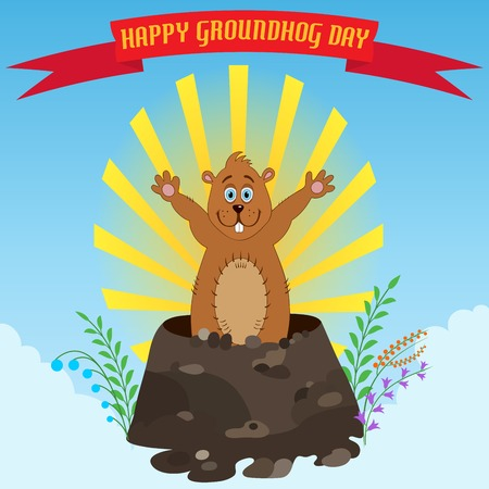 marmot: Happy Groundhog Day. Holiday illustration with cute and funny marmot Illustration