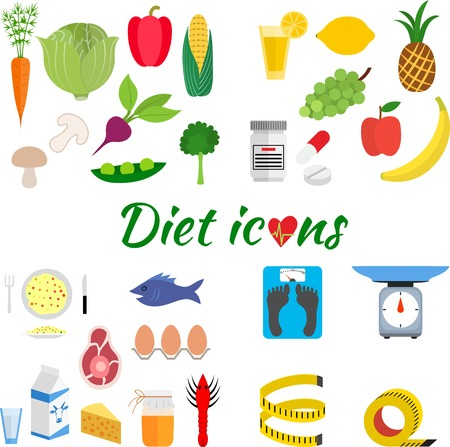 daily routine: Estilo de vida saludable, una dieta saludable y una rutina diaria. Vector plana ilustraci�n.