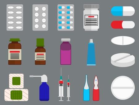blisters: Compresse e medicina (droga) le icone piane set con - blister, scatola pillole, capsule, farmaci, pasta, salve, di patch, a spruzzo, siringa