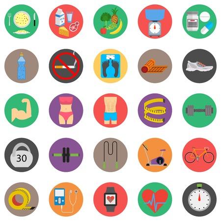 estilo de vida saludable: Deporte de fitness y de salud iconos coloridos del dise�o plana establecen. Ilustraci�n sobre un fondo blanco
