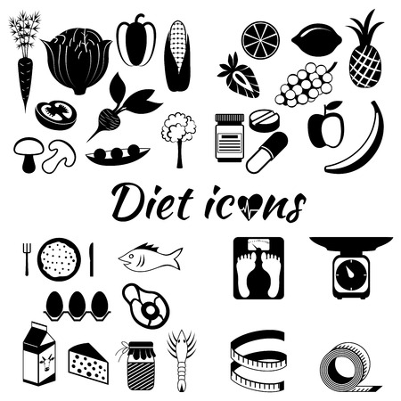 daily routine: Healthy lifestyle, a healthy diet and daily routine. vector silhouette