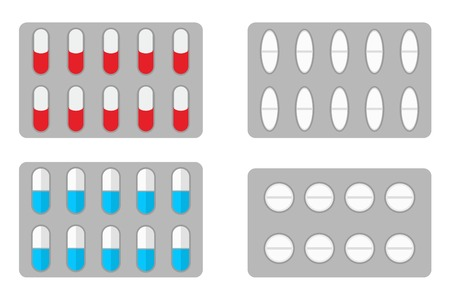 a tablet blister: Packs of pills isolated on white background - Isolated on white background Illustration