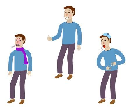 resfriado comun: Enfermo y saludable hombre - aislado sobre fondo blanco