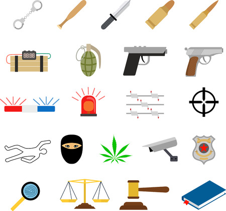 Crime icons in flat colors style and police lineup Vector