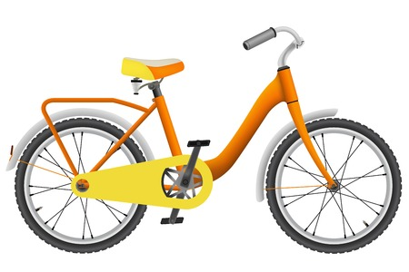 realistic orange childrens bicycle for a boy - isolated on white background Çizim