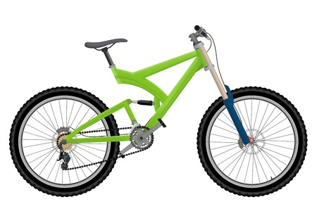 Two suspension mountain bike isolated on white background