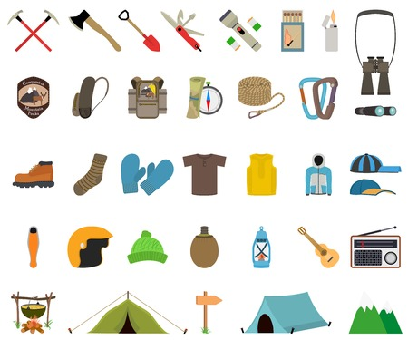 Mountain hiking and climbing vector icon set. No transparency. No gradients. Illustration