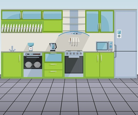 Modern green kitchen interior - vector illustration