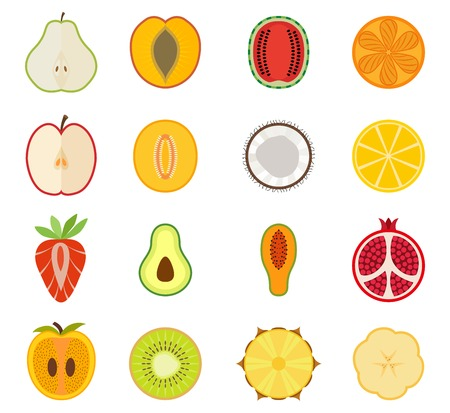 Vector fruit icon set - pear peach apricot watermelon orange apple melon coconut lemon strawberry avocado papaya pomegranate persimmon kiwi pineapple banana
