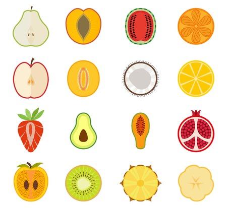 Vector fruit icon set - peer perzik abrikoos watermeloen oranje appel meloen kokos citroen aardbei avocado papaya granaatappel persimmon kiwi ananas banaan