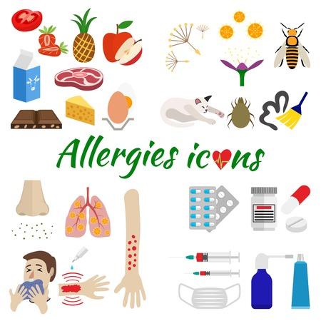 s�ntomas: los iconos son dividida al�rgica por categor�a en al�rgenos, s�ntomas y tratamiento. aislado en fondo blanco Vectores