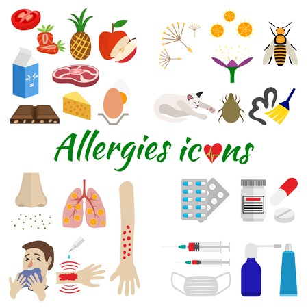 allergic reactions: the icons are allergic split by category on allergens, symptoms and treatment. isolated on white background