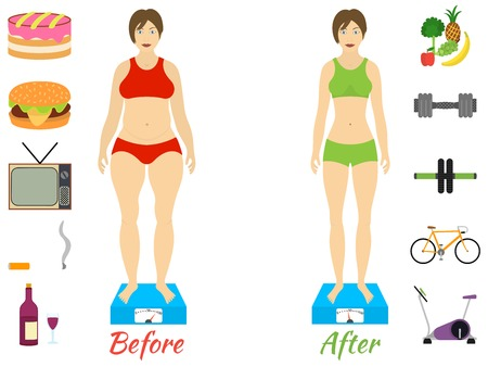 chubby woman: Infographic of fitness and sport, healthy lifestyle, women exists before and after the diet