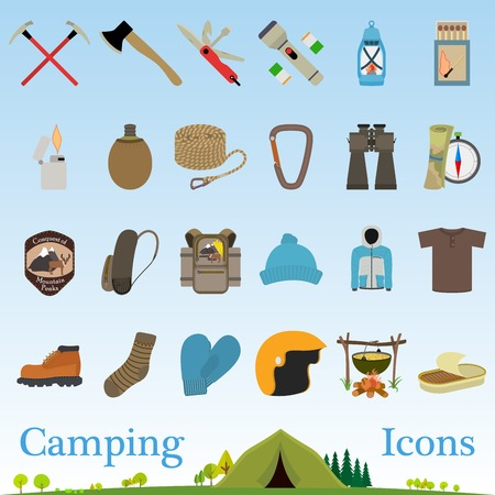 Mountain hiking and climbing vector icon set and mini illustration Vector