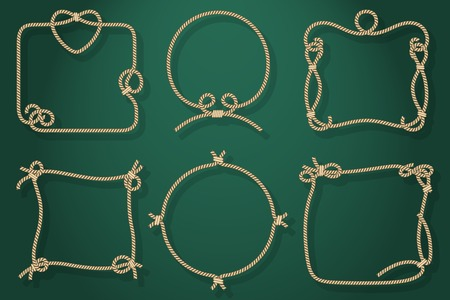 Set of Old Rope Frames in Different Unique Styles on Abstract Green Background. Vector