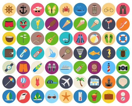 beach and summer rest colorful icon set on rounded pads. Traveling, tourism, vacation theme. No transparency. No gradients.