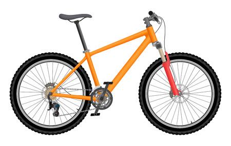Vector oranje fiets die op witte achtergrond wordt geïsoleerd Vector Illustratie