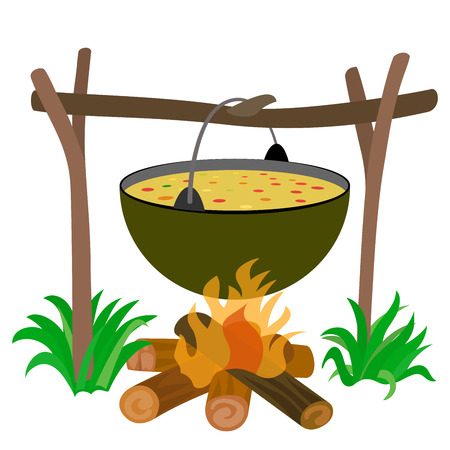 soup kettle: Kettle of Soup in Campfire  -  Stock Illustration