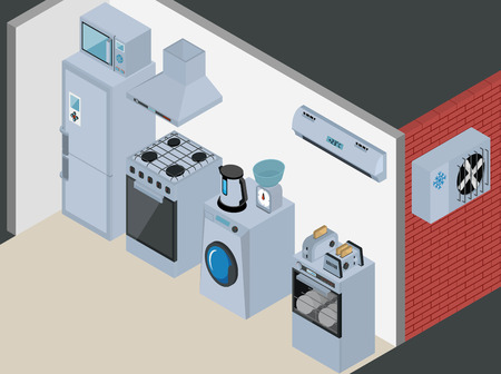 acclimatization: Household Icons appliances. Isometric Kitchen Appliances. Major household appliance Icon Set. Illustration