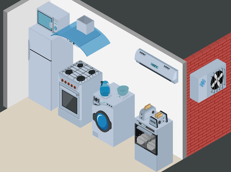 cold storage: Household Icons appliances. Isometric Kitchen Appliances. Major household appliance Icon Set. Illustration
