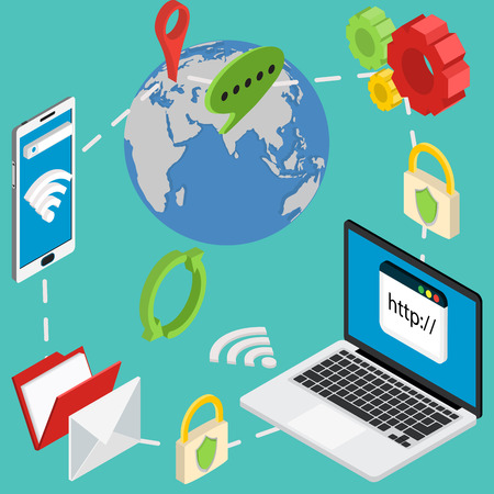 web isometric online safety data protection secure connection cryptography antivirus 일러스트