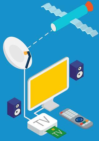 satellite tv: isometric concept of satellite TV broadcast. Vector illustration on blue background.