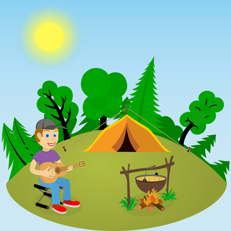 glade: Young guy with a guitar in a forest glade near the fire and tent. Color illustration on a blue background.