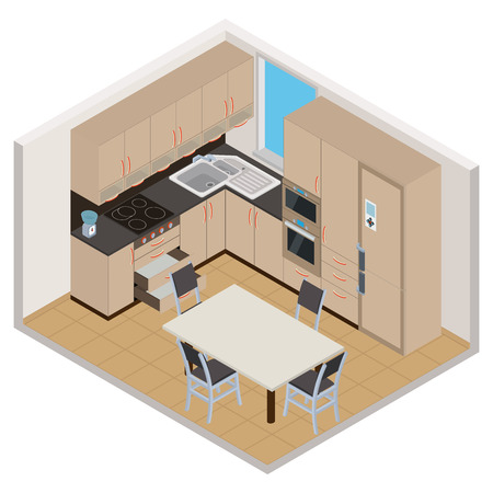 Vector isometric kitchen interior - 3D illustration