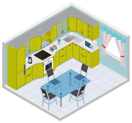 isometric kitchen interior - 3D illustration